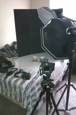 My bedroom set up as an impromptu studio.